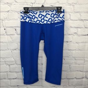 Brooks blue leggings w/ back key pocket
